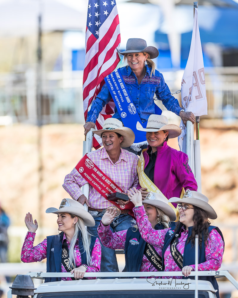MI810102-Cherie O'Donoghue, Rae-Etta Harrison and Kristie Moore, the winner and placegetters in the Breakaway Roping competition with our Rodeo Queens