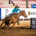 MI111887-Jema Siotiosch and 'Peppy Sweet San'place fourth in the first round of the Ladies Barrel Race in a time of 18.307 secs