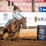 Ellysa Kenny and her 9yo gelding 'Ted' at place third in the first section of tee Ladies Barrel Race in a time of 18.076 secs