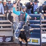 Zane Hall in the 2nd Divi Bull Ride - no score