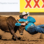 Luke Ford leads after the second section of te DD Group International Steer Wrestling contest with a time of 5.58 secs