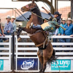 Mount Isa Cowboy Stafford Swan marks 75pts for his ride and was the crowd choice for his outfit to win the Super Hero Bronc Ride.