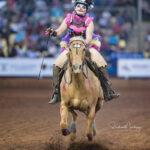Emi Carlson and her 6yo gelding 'MC' in the ADG Corporation Op Shop Barrel Race