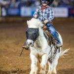5yo Blandford Cowboy Austin Caldwell on board his 33yo steed 'Biscuit The Barrel Race Horse' in the ADG Corporation Op Shop Barrel Race