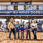 Three young Cowboys tied for the win in the Helloworld Poddy Calf Ride. Tately Spain, Clay Gill and Byron Kirk