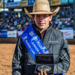 Young NSW Cowboy Corey McCoy wins the Mount Isa Mining Supplies Junior Steer Ride with a 135pt aggregate over two head