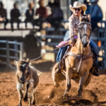 Kristie Moore and 'Malcolm' place second in the first section of the Ariat Australia Ladies Breakaway Roping contest  in a time of 5.35 secs