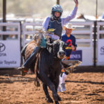 Jericho Cowboy Jimmy McClelland has never competed at Isa Rodeo before but leads after a 67pt ride in the 1st section of the Junior Steer Ride
