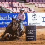 USED MI114088-Nebo Cowgirl Layney Deguara and 'Speedy' lead with a time of 17.635 secs after the first section of the Aggreko sponsored Junior Barrel Race