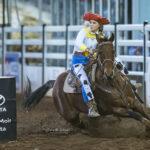 USED MI115367-Cloncurry Cowgirl Brandee Ferguson as Jessie from Toy Story on board her 12yo gelding 'Raven' win the Op Shop Barrel Race